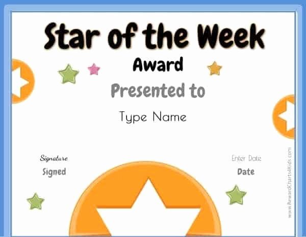 Star Of the Week Templates Elegant Star Of the Week Printables