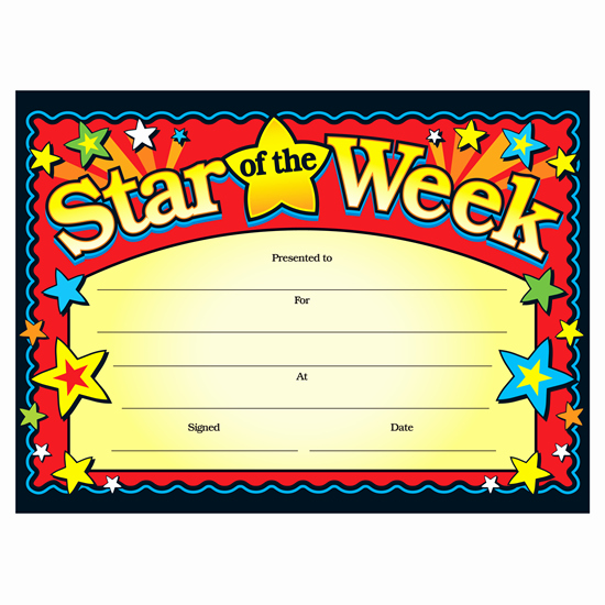 Star Of the Week Templates Elegant Star the Week Children S Certificates