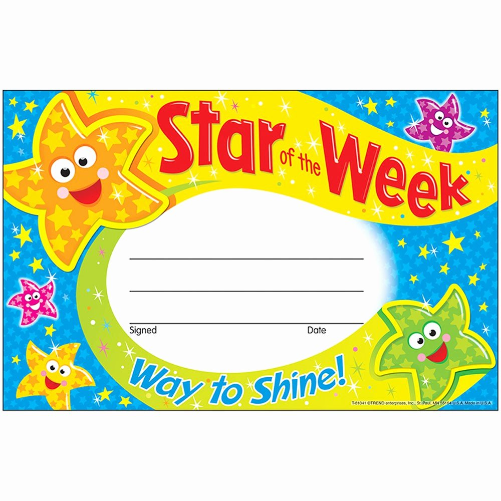 Star Of the Week Templates Luxury Star the Week Way to Shine Recognition Awards T