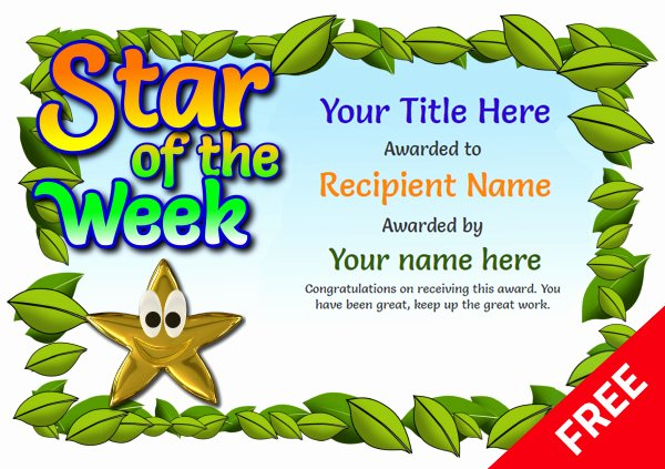 Star Of the Week Templates New Junior School Certificates Free Certificate Templates