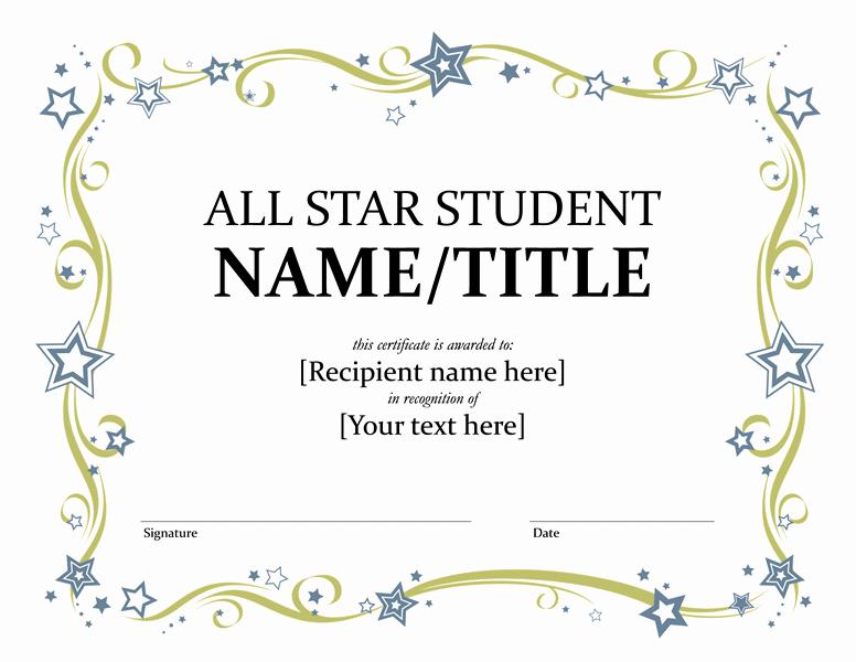 Star Registry Certificate Template Elegant All Star Student Certificate Templates Fice