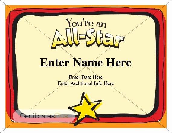 Star Registry Certificate Template Fresh Kid Certificate All Star Certificate Award Certificate
