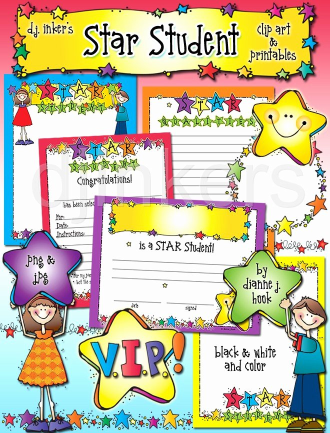 Star Student Award Printable Beautiful Star Student Clip Art Printables & Certificate by Dj Inkers