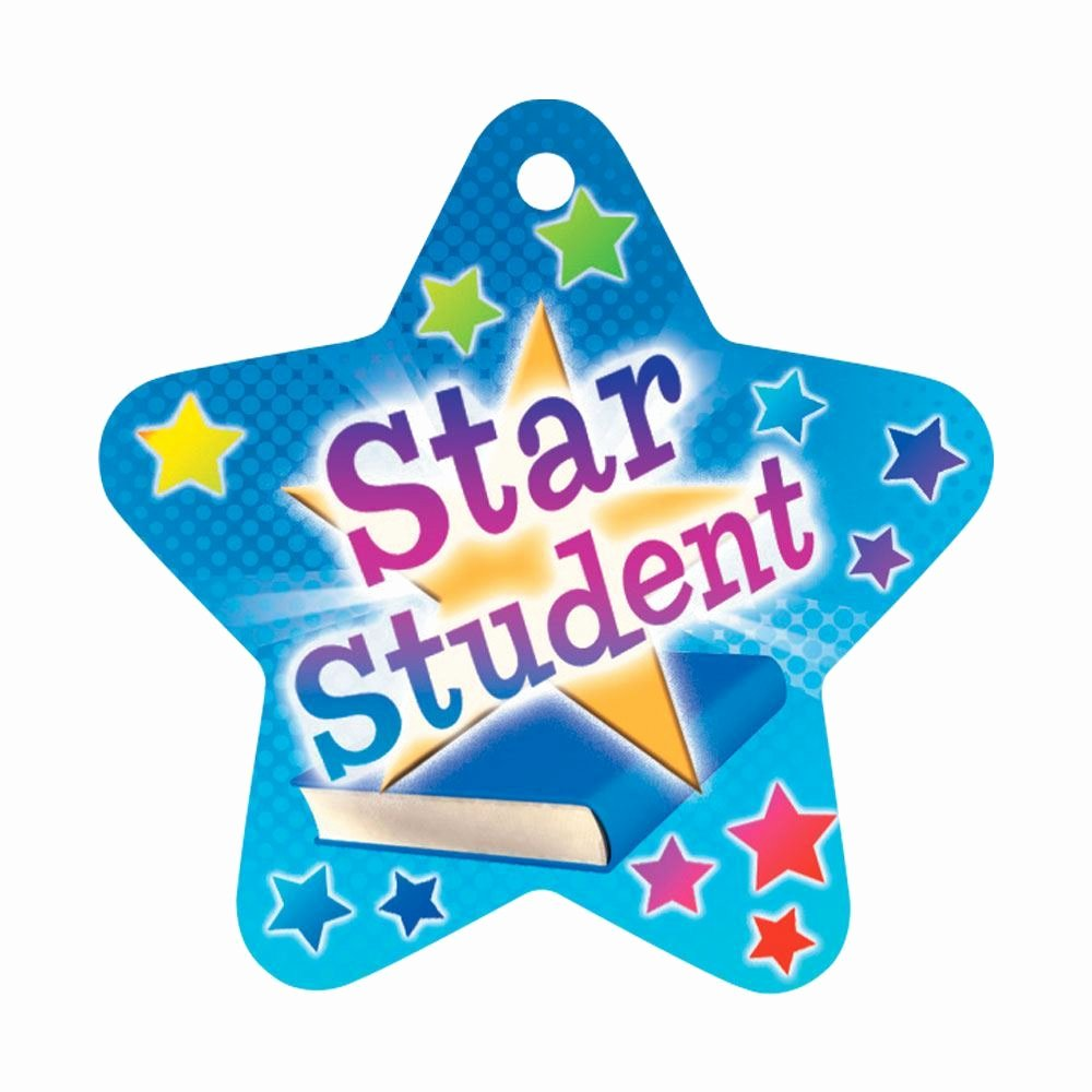 "Star Student Award Printable Lovely Star Student Star Shaped Award Tag with 4"" Chain"