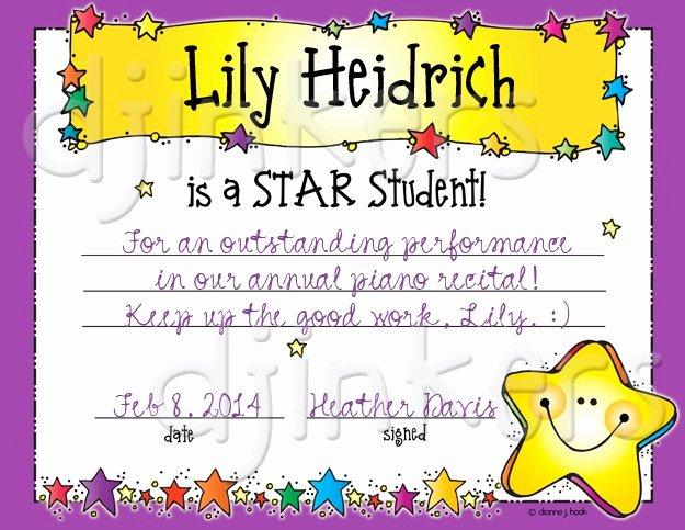 Star Student Award Printable Luxury Star Student Clip Art Printables & Certificate by Dj