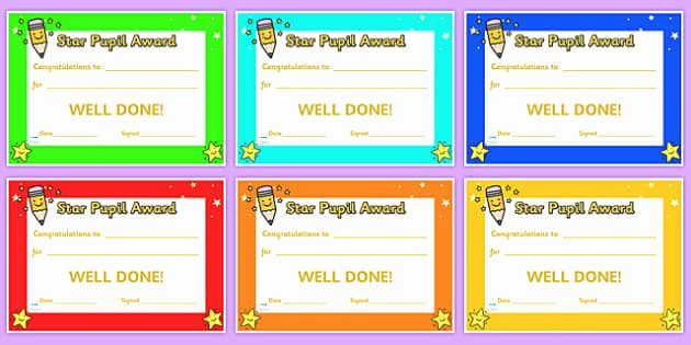 Star Student Award Printable Unique Free Star Pupil Award Certificates Star Pupil Award