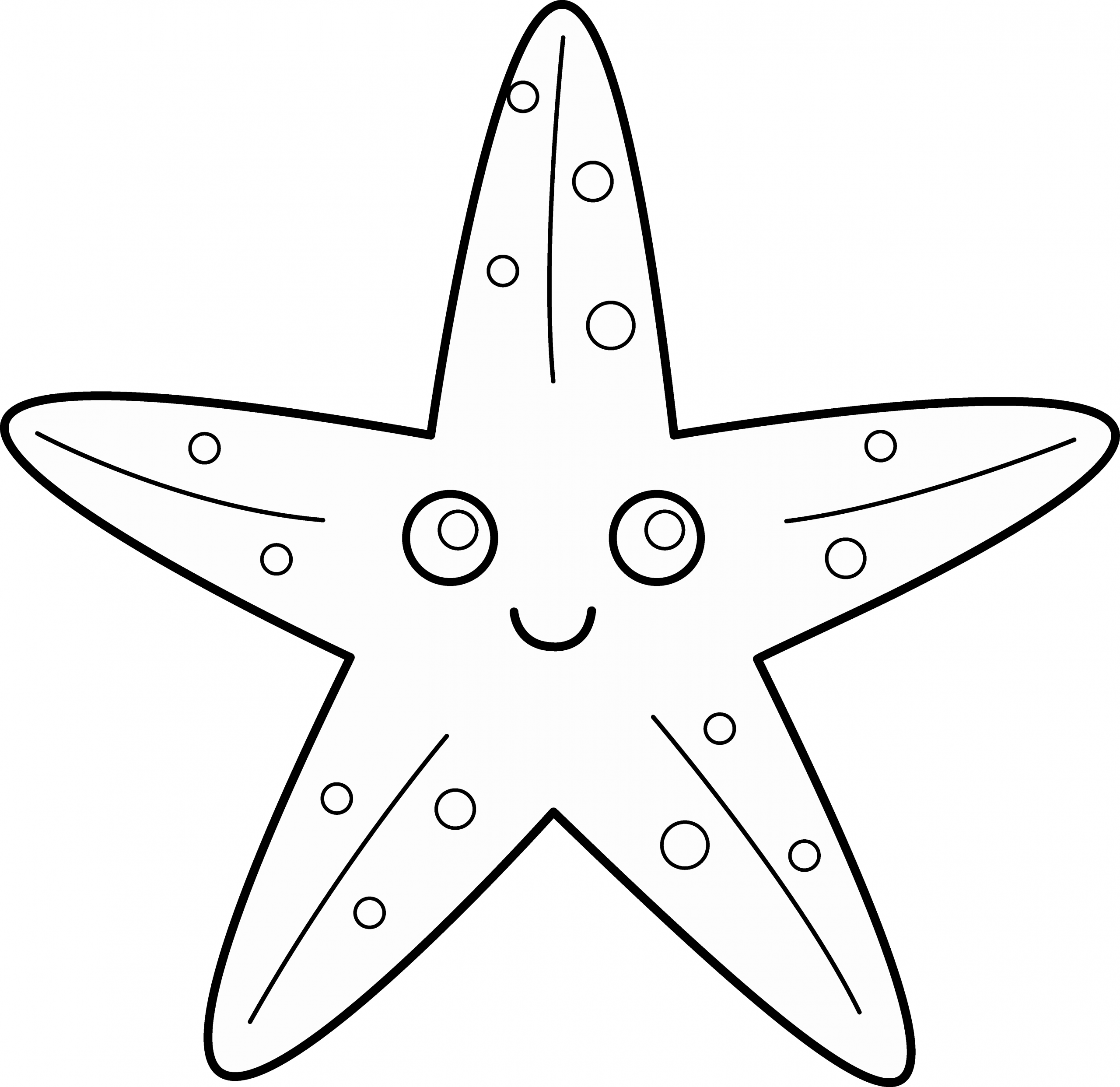 Star Template with Lines Lovely Cute Starfish Line Art Free Clip Art