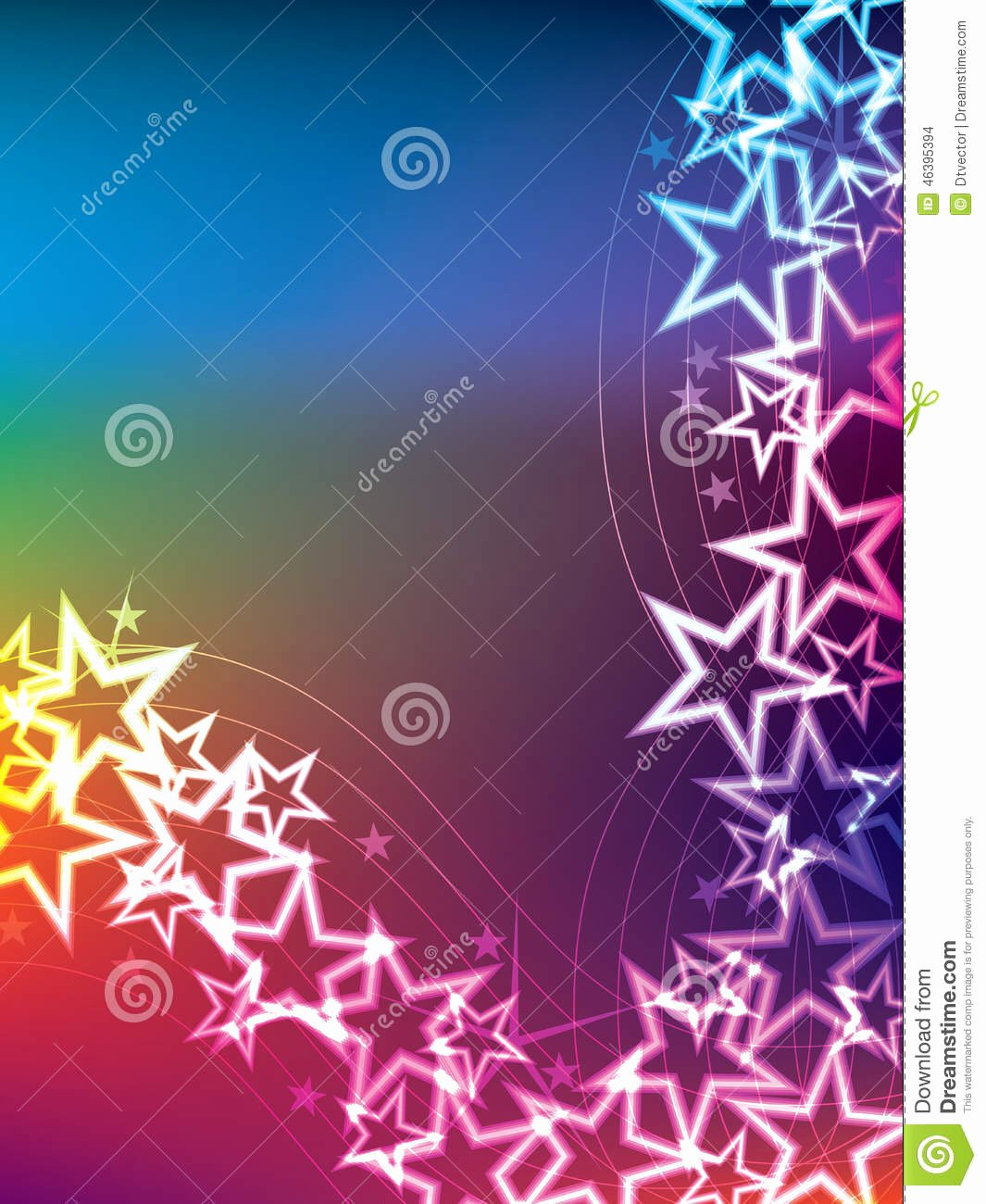 Star Template with Lines New Colorful Star Line Side Stock Vector Image