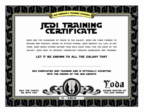 Star Wars Certificate Template Beautiful Star Wars Birthday Jedi Training Certificate Printable