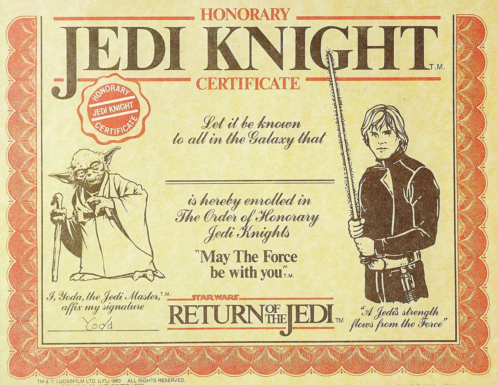 Star Wars Certificate Template Inspirational Dartman S World Wonder You too Can Be A Jedi