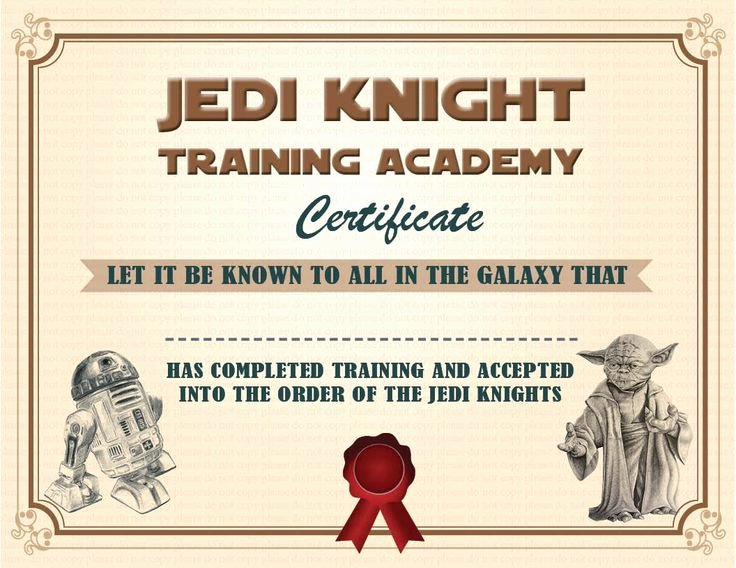 Star Wars Certificate Template Inspirational Instant Dl Jedi Knight Certificate Star Wars Birthday by