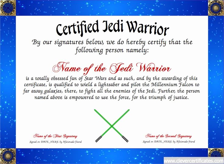 Star Wars Certificate Template Luxury 17 Best Images About Fun Certificate Templates On