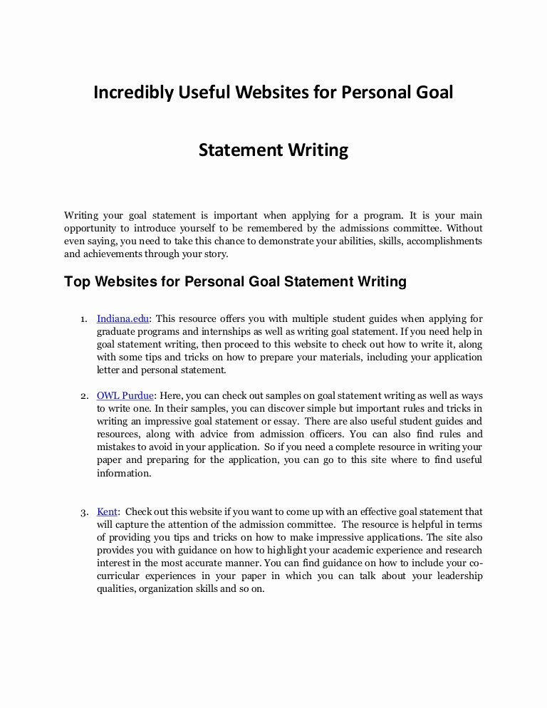 Statement Of Academic Goals Best Of Personal Goal Statement Writing Resources Every Student Needs