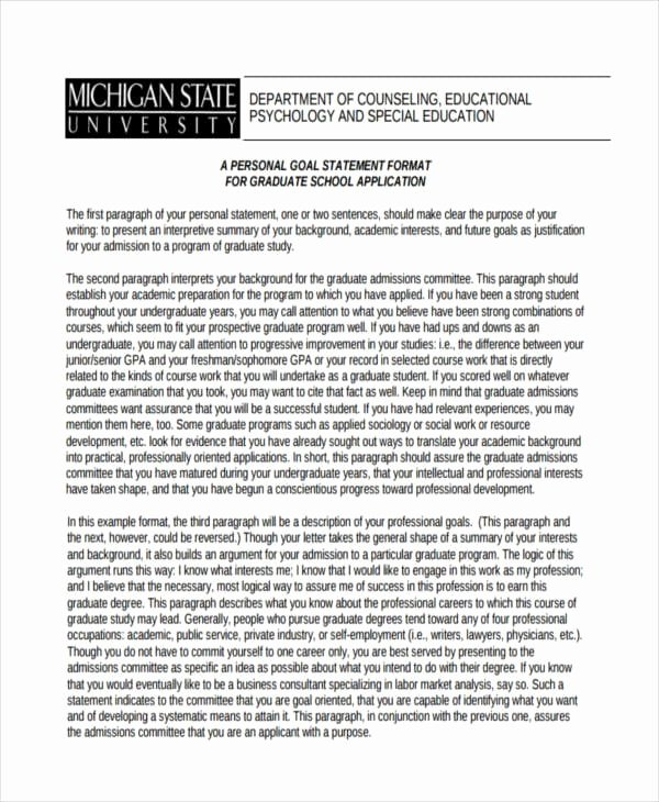 Statement Of Academic Goals Example Best Of Free 31 Personal Statement Examples & Samples In Pdf