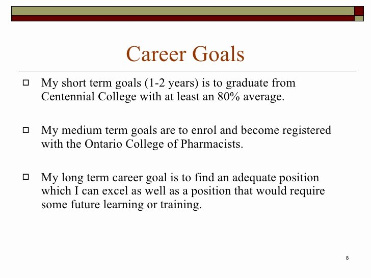 Statement Of Academic Goals Example Fresh Career Portfolio