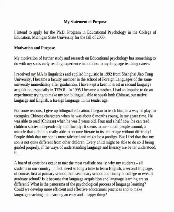 Statement Of Academic Goals Example Inspirational Free 11 Statement Of Purpose Examples & Samples In Pdf