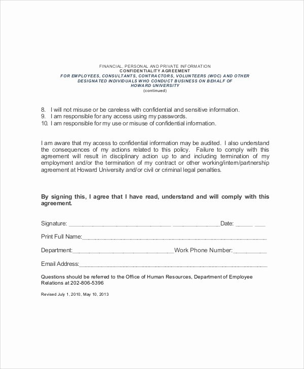 Statement Of Confidentiality Sample Best Of Sample Hr Confidentiality Agreement 6 Documents In Pdf