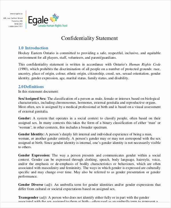 Statement Of Confidentiality Sample Elegant 10 Sample Confidentiality Statements Pdf Word