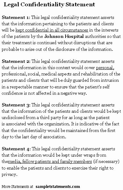 Statement Of Confidentiality Sample Elegant Legal Confidentiality Statement
