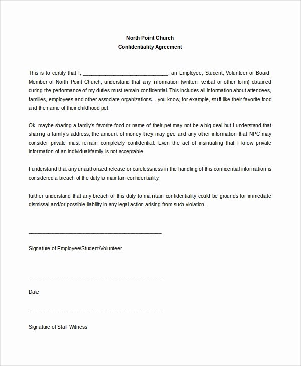 Statement Of Confidentiality Sample Fresh Church Confidentiality Agreement – 9 Free Word Pdf