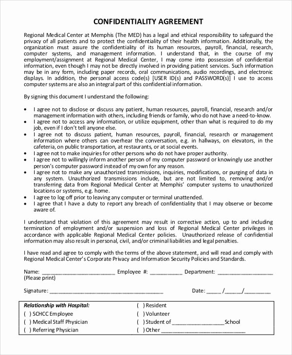 Statement Of Confidentiality Sample Inspirational Sample Confidentiality Agreement form 11 Examples In