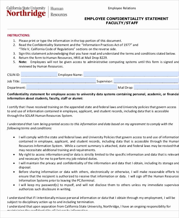Statement Of Confidentiality Sample New 10 Sample Confidentiality Statements Pdf Word