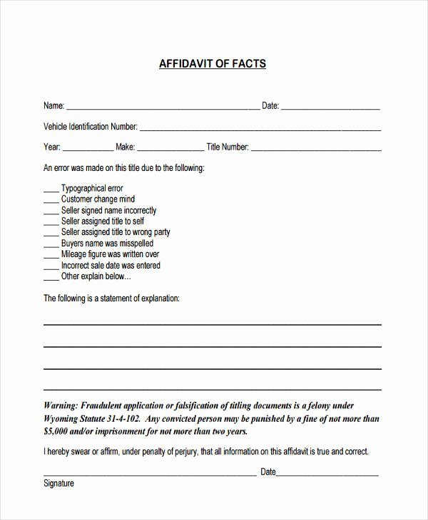 Statement Of Facts Elegant Free 6 Fact Affidavit forms In Word