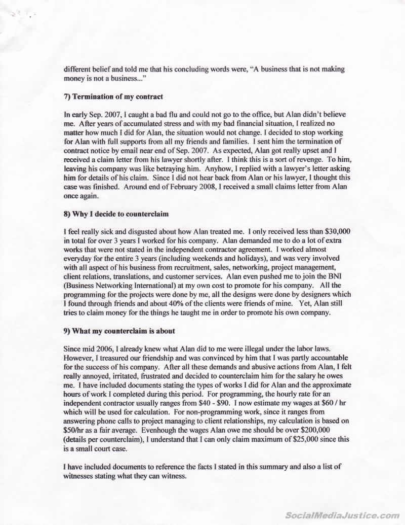 Statement Of Facts Example Awesome Staetment Of Facts Exposing Johnny Ho S Story In Bc Court