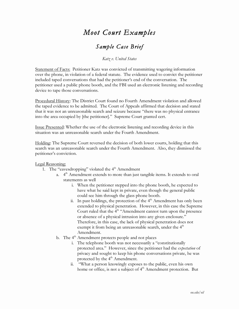 Statement Of Facts Example Inspirational Moot Court Examples Sample Case Brief