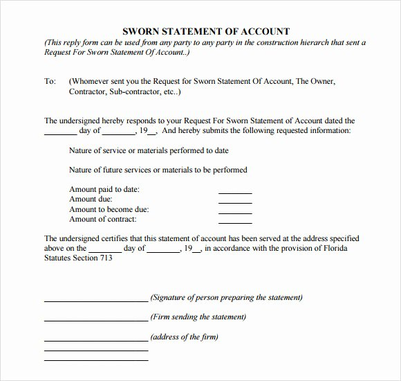 Statement Of Facts Sample Awesome Sworn Statement Template 12 Download Free Documents In Pdf