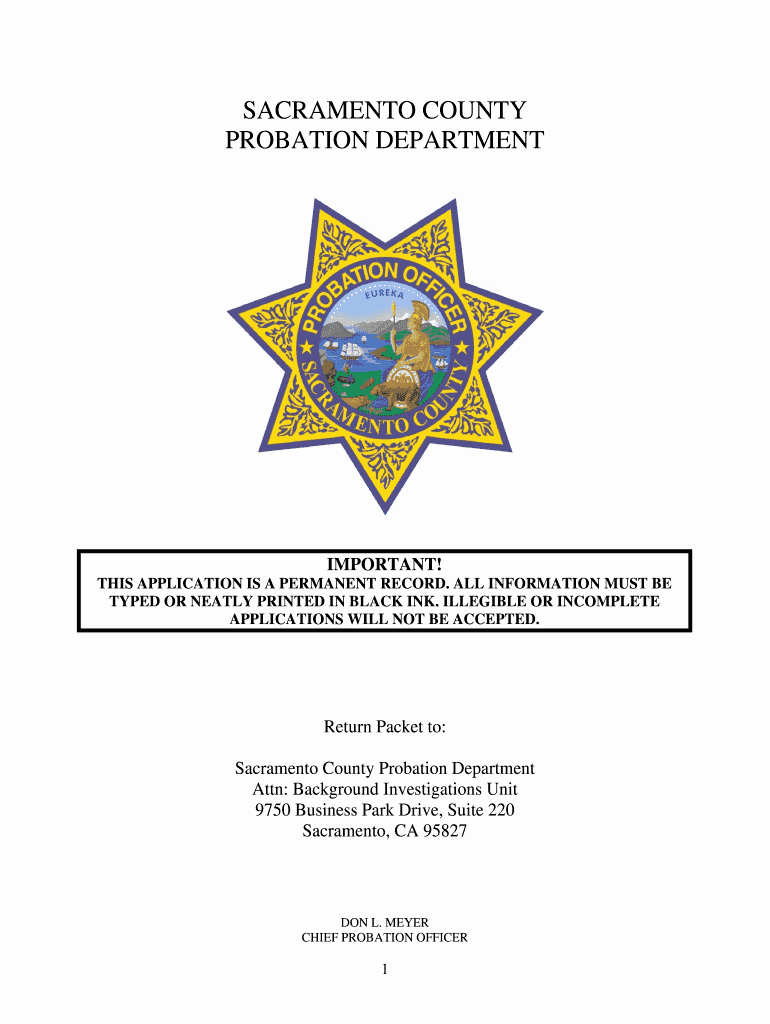 Statement Of Personal History form Elegant Sacramento County Probation Personal History Statement
