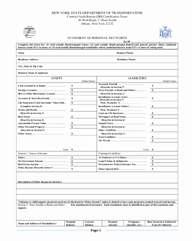 Statement Of Personal History form Inspirational 2019 Net Worth Statement form Fillable Printable Pdf