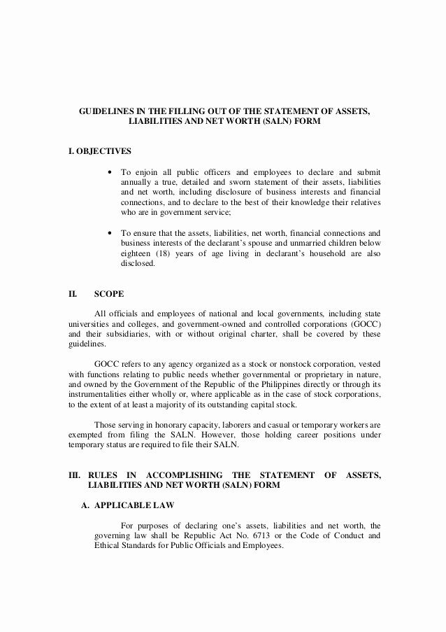 Statement Of Personal History form New Guidelines In the Filling Out Of the Statement Of assets