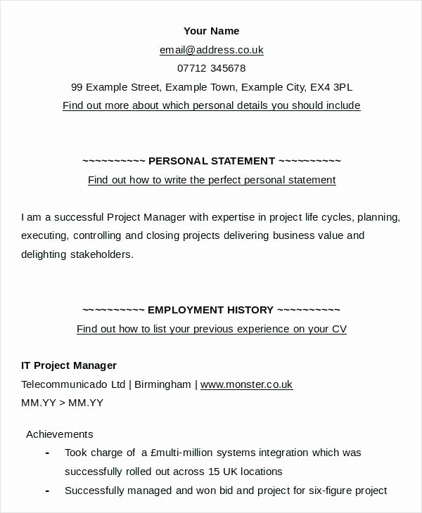 Statement Of Personal History form Unique Resume Personal Statement Examples – Albertogimenob