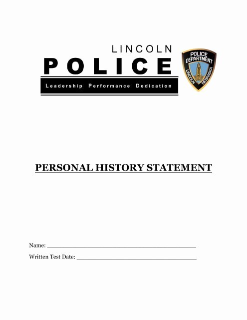 Statement Of Personal History Fresh Personal History Statement