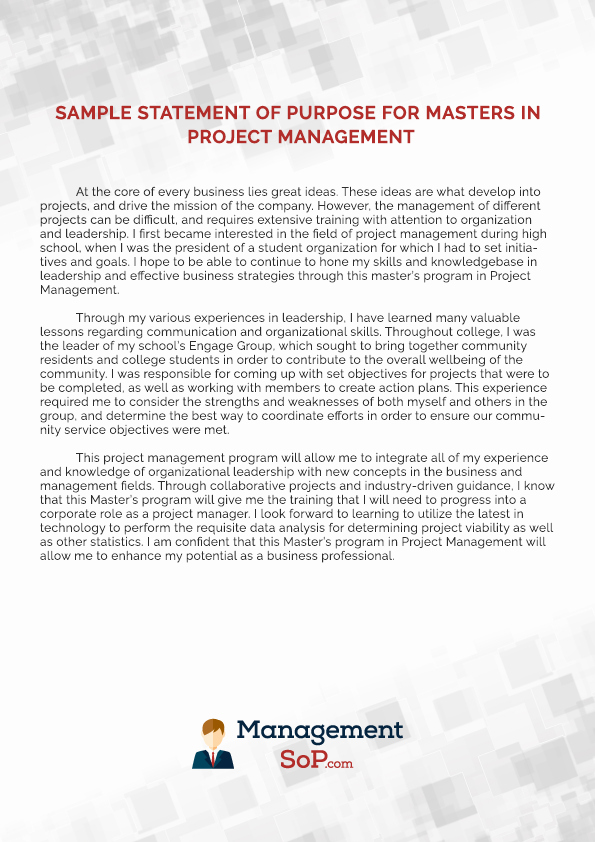 Statement Of Purpose for Masters Sample Awesome Statement Of Purpose for Project Management Writing Help