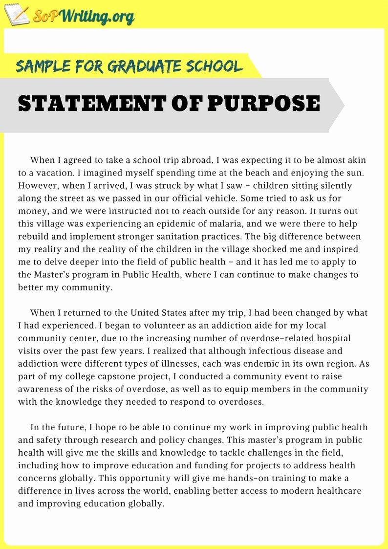 Statement Of Purpose for Masters Sample Inspirational Sample Statement Of Purpose for Graduate School