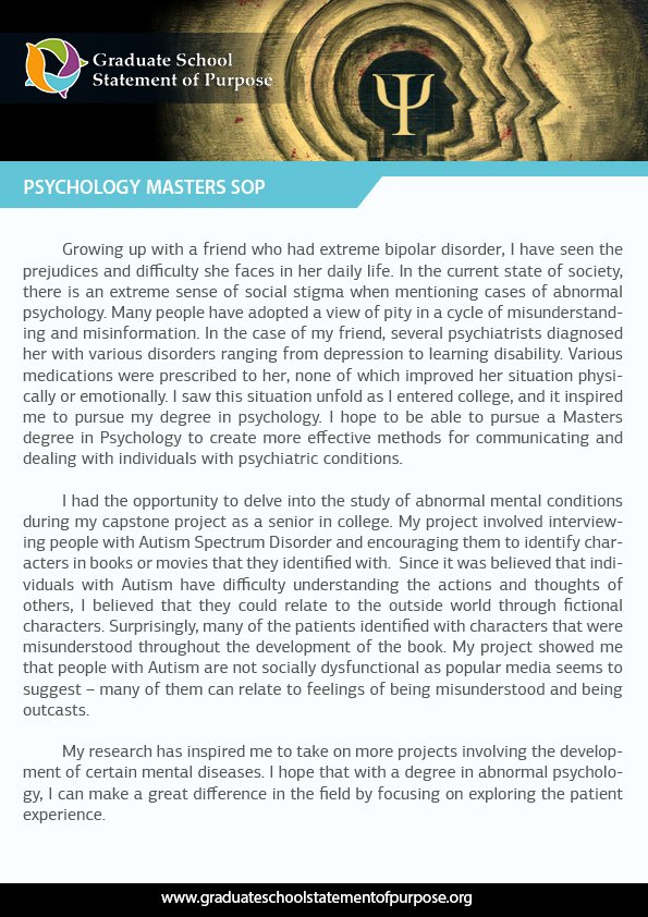 Statement Of Purpose for Masters Sample Lovely Graduate Statement Of Purpose for Psychology Sample