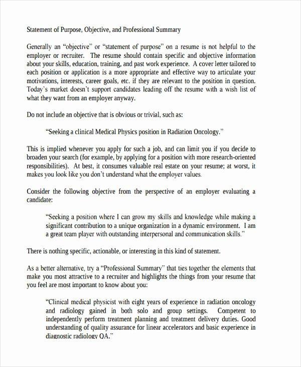 Statement Of Purpose Letter Beautiful Free 11 Statement Of Purpose Examples & Samples In Pdf