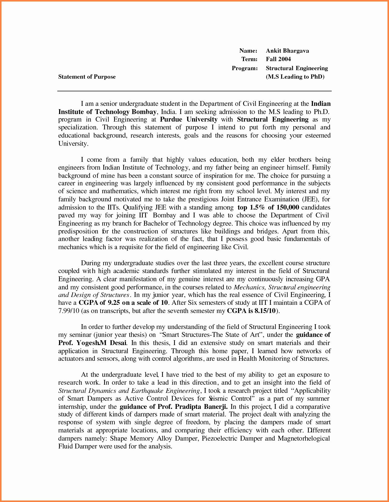 Statement Of Purpose Letter Beautiful Statement Of Purpose Letter Graduate School sop