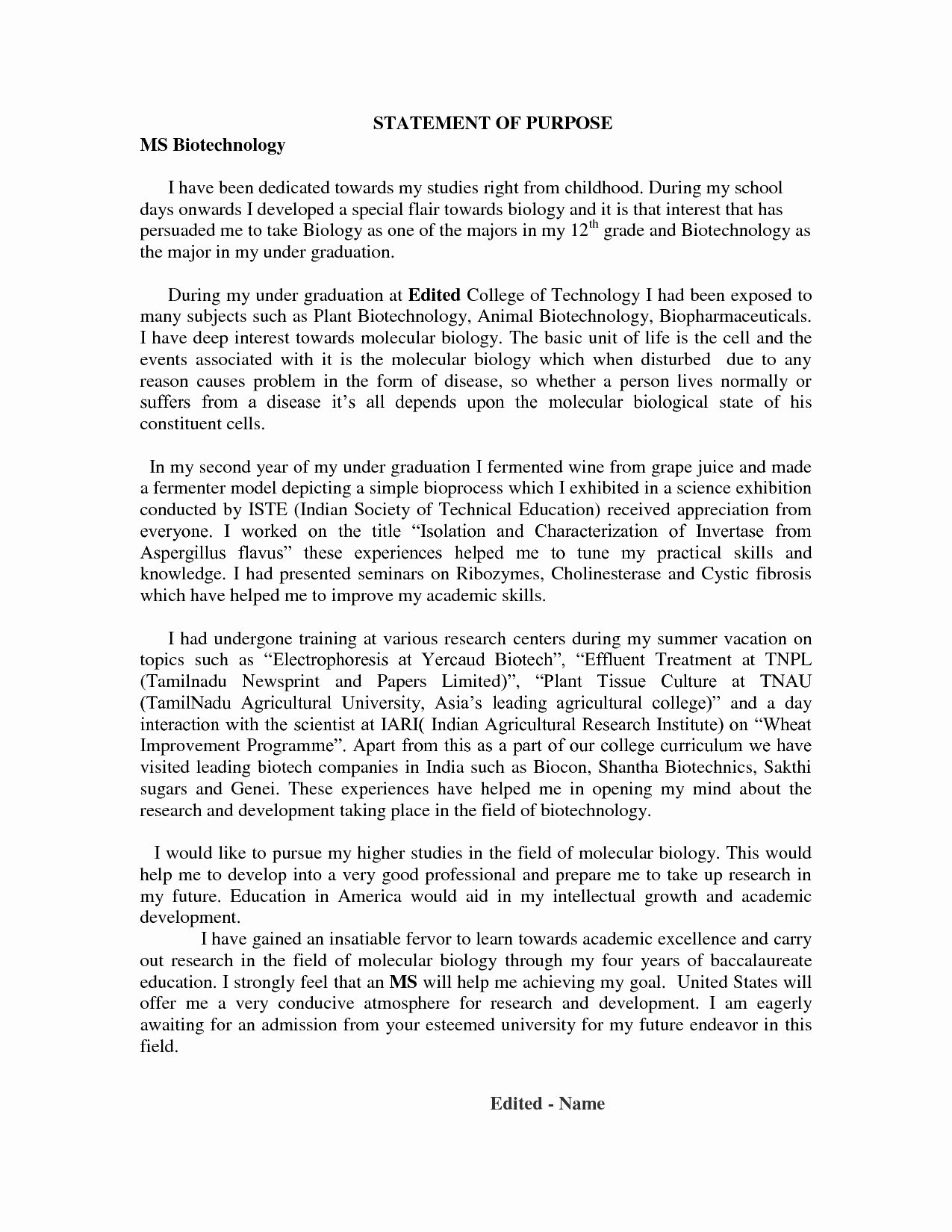 Statement Of Purpose Letter New Statement Of Purpose for Phd Writing Guide