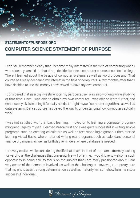 Statement Of Purpose Sample Computer Science Awesome Pin by Statement Of Purpose On Puter Science Statement