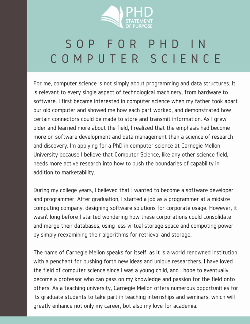 Statement Of Purpose Sample Computer Science Awesome sop for Phd Admission Samples for 9 Specialties