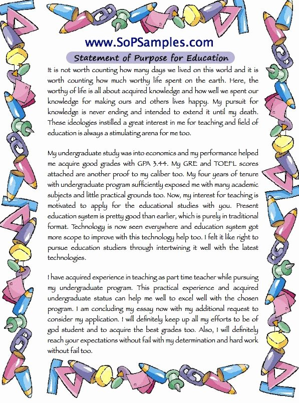 Statement Of Purpose Sample Computer Science Beautiful Education Statement Of Purpose Sample