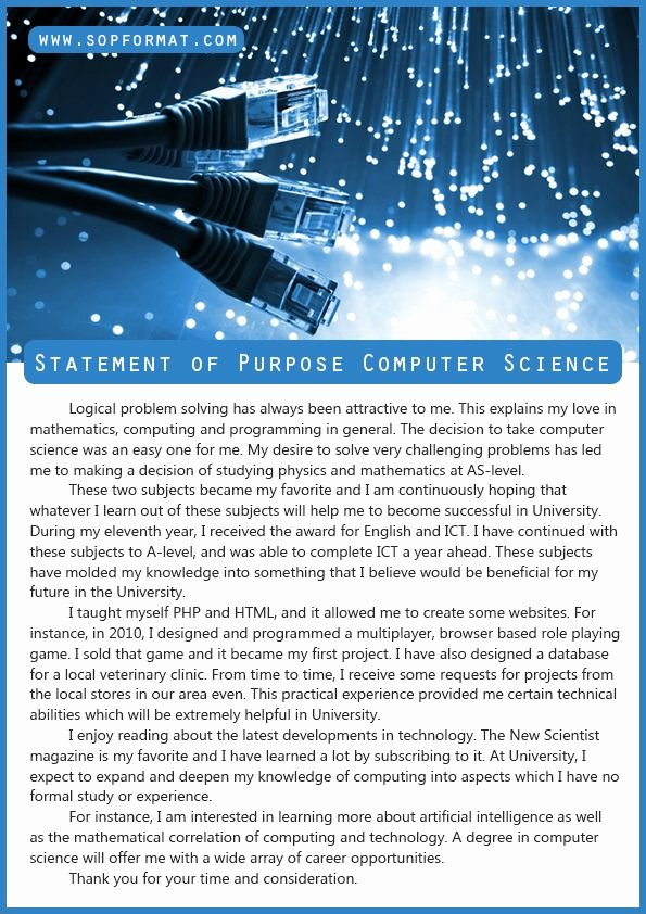 Statement Of Purpose Sample Computer Science Unique Best Statement Of Purpose Puter Science format