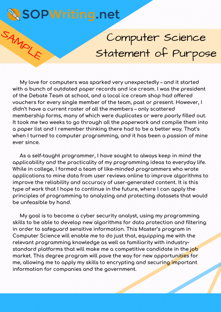 Statement Of Purpose Sample Computer Science Unique Sample sop for Ms In Puter Science