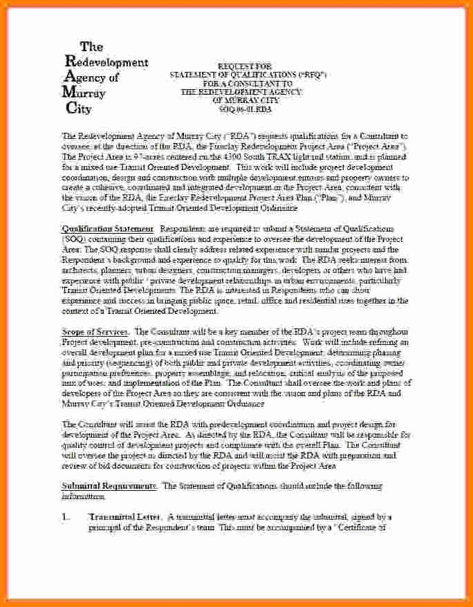 Statement Of Qualifications Example Letter Awesome 10 Statement Of Qualification