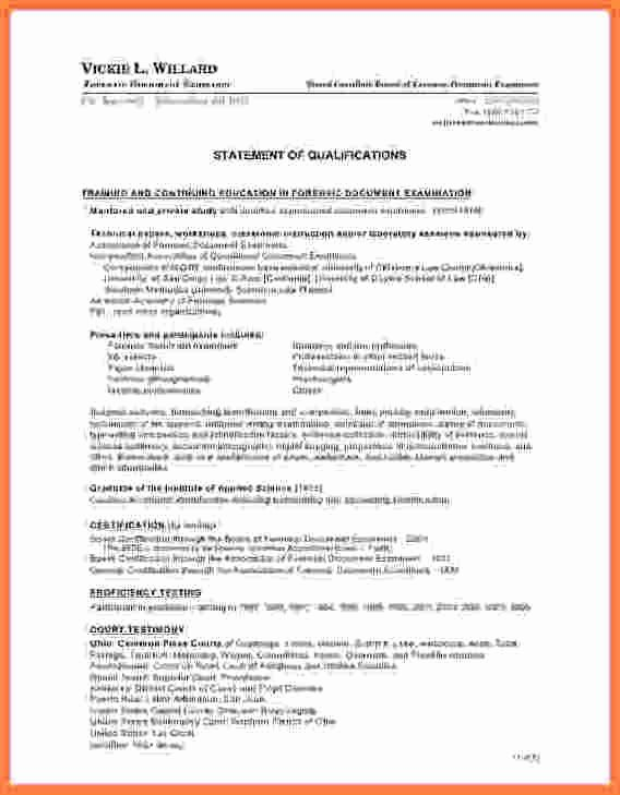 Statement Of Qualifications Example Letter Awesome 6 Statement Of Qualifications Sample