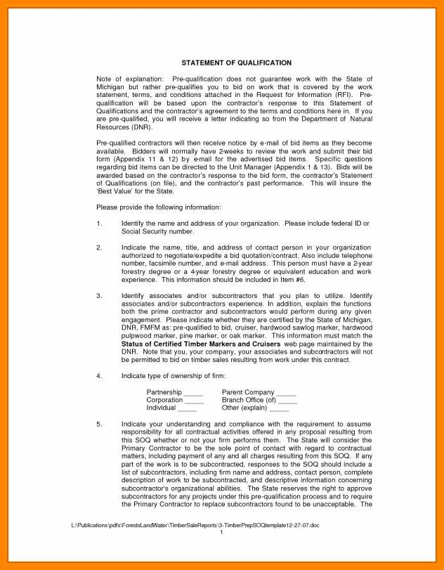 Statement Of Qualifications Example Letter Inspirational 10 Statement Of Qualification