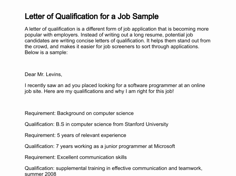 Statement Of Qualifications Example Letter Inspirational Letter Of Qualification